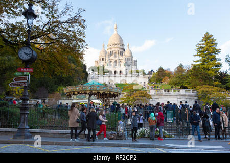 PARIS, FRANCE - NOVEMBER 9, 2018 - Basilica of the Sacred Heart of Paris, or Montmartre Sacré-Cœur, is a popular landmark and the 2nd most visited mon - Stock Photo
