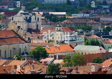 City panorama over the historic city centre of Vilnius, Lithuania, Baltic States, Northeastern Europe - Stock Photo