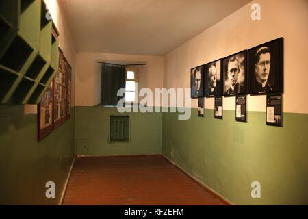 Cell in the KGB Museum, Genocide Museum, dealing with the periods of German and Soviet occupations and genocide, Vilnius - Stock Photo