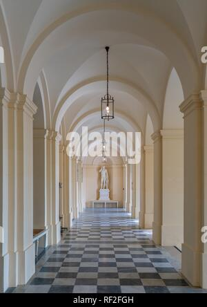 Passage with statue, castle Herrenchiemsee, Chiemsee, Herreninsel, Bavaria, Germany - Stock Photo