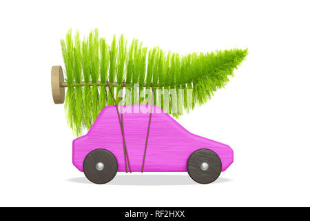 pink toy car with green christmas tree 3d illustration - Stock Photo