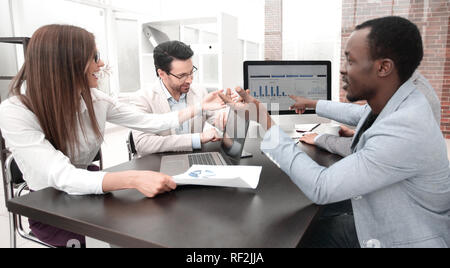 business team analyzes the financial data - Stock Photo