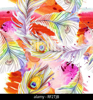 Colorful bird feather from wing isolated. Watercolor background illustration set. Watercolour drawing fashion aquarelle isolated. Seamless background  - Stock Photo