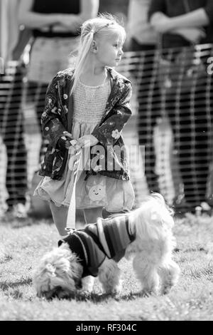 A little girl walking her dog in the park at a dog show - Stock Photo