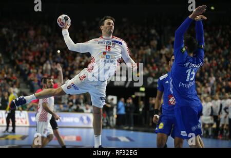 firo: 23.01.2019, Handball: World Cup World Cup Main Round France - Croatia, Croatia duels Igor Karacic | usage worldwide - Stock Photo