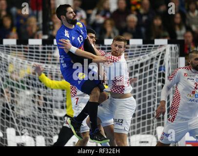 firo: 23.01.2019, Handball: World Cup World Cup Main Round France - Croatia, Croatia duels Nikola Karabatic | usage worldwide - Stock Photo