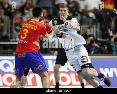 firo: 23.01.2019, Handball: World Cup World Cup Main Round Germany - Spain 31:30 duels, Finn Lemke, GER | usage worldwide - Stock Photo