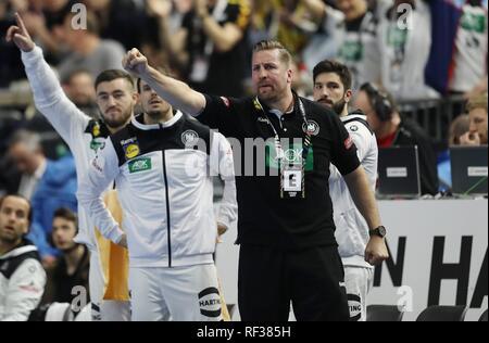 firo: 23.01.2019, Handball: World Cup World Cup Main Round Germany - Spain 31:30 GEstik, TEammanger Oliver Roggisch | usage worldwide - Stock Photo