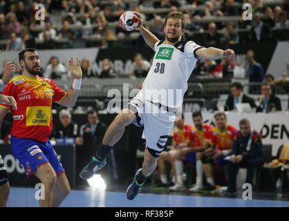 firo: 23.01.2019, Handball: World Cup World Cup Main Round Germany - Spain 31:30 duels Fabian Bohm, GER | usage worldwide - Stock Photo