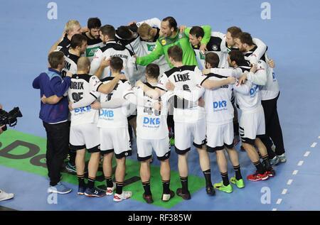 firo: 23.01.2019, Handball: World Cup World Cup Main Round Germany - Spain 31:30 jubilationkreis, TEam, team make victory | usage worldwide - Stock Photo