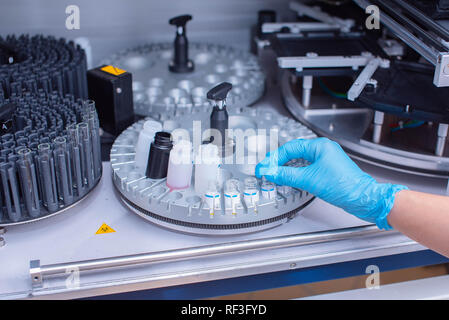 Laboratory immunoassay analyzer. Diagnosis of infectious diseases and allergic reactions. Prenatal screening. Analysis of the hormonal status. - Stock Photo