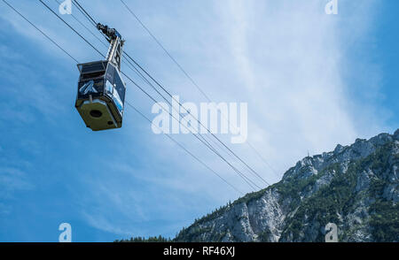 The cable car up to the 5482 foot Rauschberg, Upper Bavaria, Germany, Europe - Stock Photo
