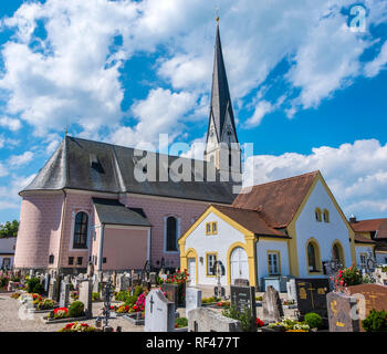 The Church of the Immaculate Conception of The Virgin Mary at Siegsdorf. Upper Bavaria, Germany, Europe - Stock Photo