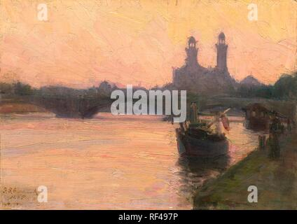 Henry Ossawa Tanner (American, 1859 - 1937 ), The Seine, c. 1902, oil on canvas, Gift of the Avalon Foundation - Stock Photo