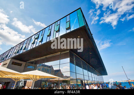 Copenhagen, Denmark-2 August, 2018: Modern building of the Royal Theater in historic city center facing famous Copenhagen waterfront