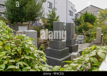 Tombstones in Kyoto cemetery, Japan - Stock Photo