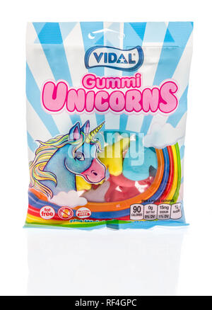 Winneconne, WI - 20 January 2019: A bag of Vidal gummi unicorns from Spain on an isolated background. - Stock Photo