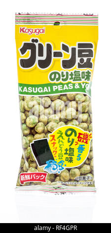 Winneconne, WI - 20 January 2019: A package of Kasugai seaweed roasted peas from Japan on an isolated background. - Stock Photo