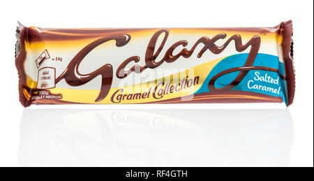 Winneconne, WI - 20 January 2019: A package of Mars Galaxy salted caramel candy bar from Ireland on an isolated background. - Stock Photo