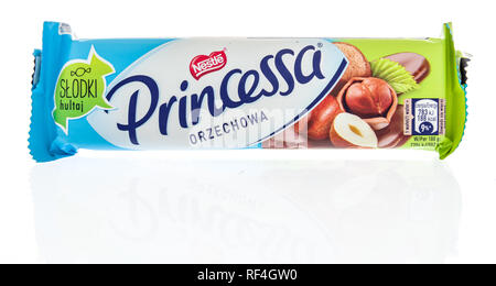 Winneconne, WI - 20 January 2019: A package of Nestle Princessa wafer bar from Poland on an isolated background. - Stock Photo