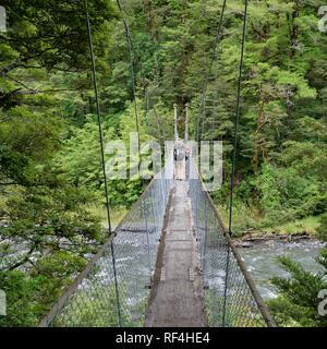 Cannibal Gorge swing bridge over the Maruia River, St James Walkway, New Zealand. - Stock Photo