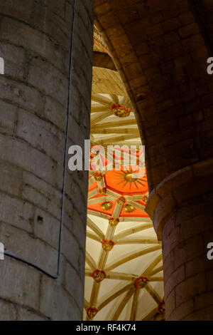 The decorated cieilings of Tewkesbury Abbey. Tewkesbury a historic town in Gloucestershire England UK - Stock Photo