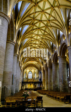 The nave and vaulted ceiling of Tewkesbury Abbey. Tewkesbury a historic town in Gloucestershire England UK - Stock Photo