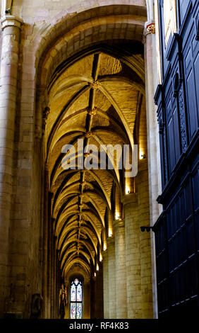 The vaulted ceilings of Tewkesbury Abbey. Tewkesbury a historic town in Gloucestershire England UK - Stock Photo
