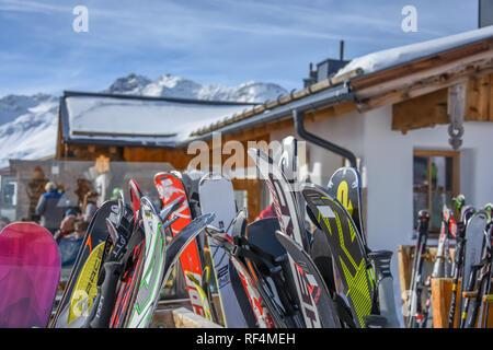 HOHE MUT ALM, OBERGURGL: February 20, Lots of snow ski in the restorant in the top mountain on February 20, 2017 in Obergurgl, Austria - Stock Photo