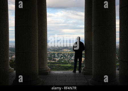 Rhodes Memorial is a popular attraction on the slopes of Devil's Peak in Cape Town, Western Cape, South Africa affording sweeping views of the city - Stock Photo