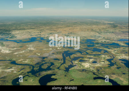 The Okavango Delta in Botswana is a famous and dynamic ecostem where the water levels in the swamps change dramatically over the course of the seasons - Stock Photo