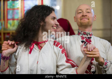 Belarus, Gomel, November 24, 2018. Reconstruction of an ethnic old Belarusian wedding.Belarusian Slavic national dances. A man and a woman in embroide - Stock Photo