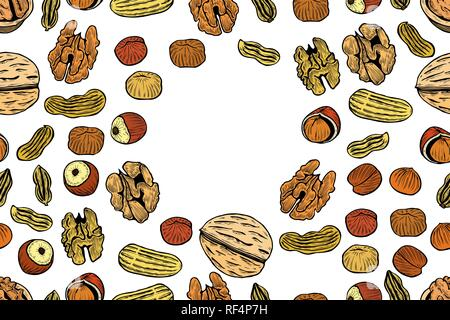 Vector seamless pattern with nuts and seeds. Pistachios, brasil nuts, pecan, hazelnut, nutmeg, cashew background. Hand drawn elements in sketch style. - Stock Photo