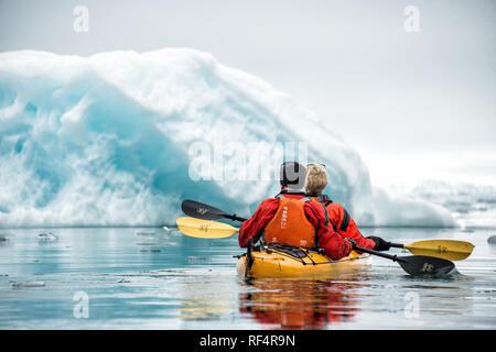 [kayaking in the Arctic] ice Arctic polar - Stock Photo