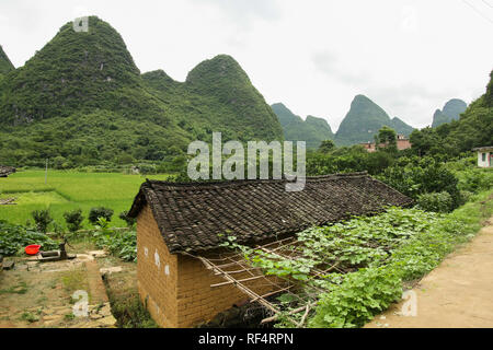 Karst mountains and rice paddies landscape in Yangshuo China - Stock Photo