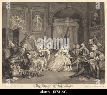 Marriage a la Mode: pl.4. Dated: 1745. Medium: etching and engraving. Museum: National Gallery of Art, Washington DC. Author: Simon Francois Ravenet I after William Hogarth. after William Hogarth. William Hogarth. SIMON FRANCIS RAVENET. - Stock Photo