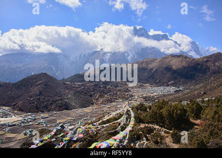 Stunning view of Khumjung in the Khumbu Valley of Nepal - Stock Photo