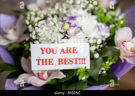 beautiful spring flowers bouquet with you are the best message card.Best Mom ever. I Love you. Mothers Day invitation, congratulation.International Women's Day. Flyer for March 8.Happy Valentines Day, Greeting card - Stock Photo