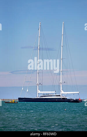 Picture by Tim Cuff 15 January 2019 - Super yacht Aquijo leaving Port Nelson - Stock Photo