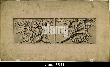 Design for two decorations in rectangular recessed surfaces. Draughtsman: Bartholomeus Ziesenis (mentioned on object). Dating: 1787. Measurements: h 202 mm × w 355 mm. Museum: Rijksmuseum, Amsterdam. - Stock Photo