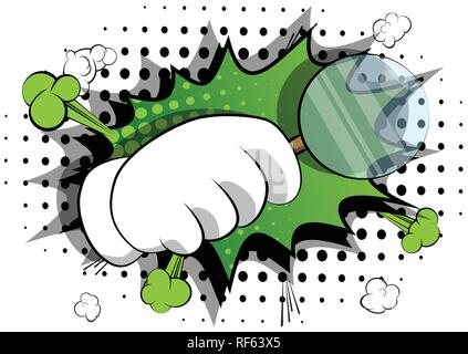 Vector cartoon hand holding a magnifying glass. Illustrated hand expression, gesture on comic book background. - Stock Photo