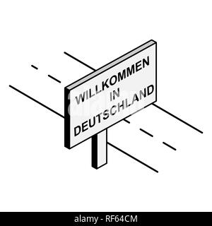 Billboard on the road with the inscription welcome to Germany, German language - Stock Photo