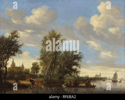Salomon van Ruysdael (Dutch, 1600/1603 - 1670 ), River Landscape with Ferry, 1649, oil on canvas, Patrons' Permanent Fund and The Lee and Juliet Folger Fund.  This acquisition was made possible through the generosity of the family of Jacques Goudstikker, in his memory. - Stock Photo