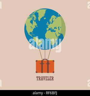 globe hot air balloon with travel bag. Vector illustration - Stock Photo