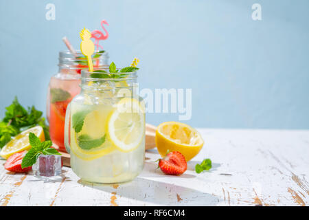 Selection of summer lemonades in glass jars - Stock Photo