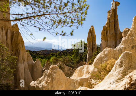 Les Orgues d'Ille sur Tet - Rock formations that reminds of organ pipes. - Stock Photo