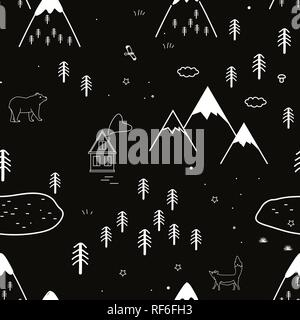 Hand drawn scandinavian animals in the forest, seamless pattern. Scandinavian style traditional motifs. Vector illustration - Stock Photo