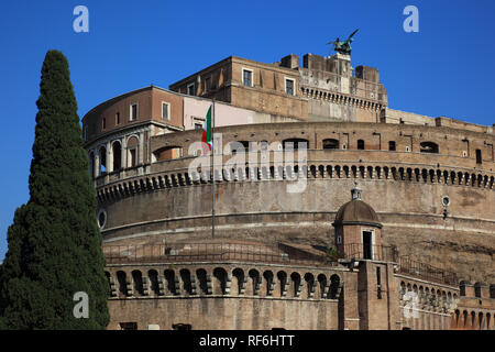 Mausoleum of Hadrian, Castel Sant'Angelo, Castle of the Holy Angel, Mausoleo di Adriano, Rome, Italy - Stock Photo