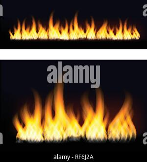 Fiery flames on a dark background. Fire bonfire. Vector illustration - Stock Photo