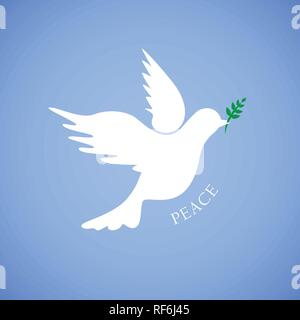 white dove for peace on blue background vector illustration - Stock Photo